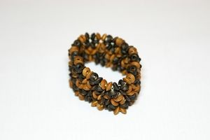 Brown & Dark Brown Elasticated Wooden Bracelet