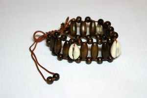 Dark Brown Shell Adjustable Wooden Bracelet