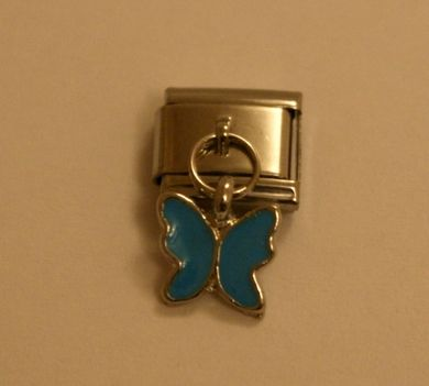 Italian Charm Dangle Butterfly Blue