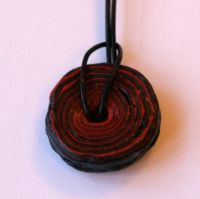Large Black And Red Rock Pendants Necklace On Leather