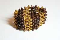 Light Brown & Dark Brown Elasticated Wooden Bracelet