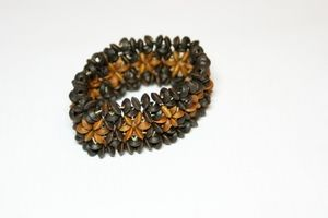 Light Brown & Dark Brown Flower Elasticated Wooden Bracelet
