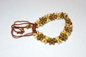 Light Brown & White Thin Adjustable Wooden Bracelet