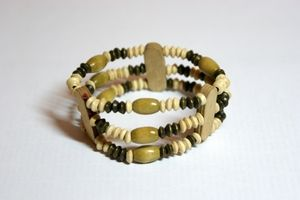 Olive & Brown Elasticated Wooden Bracelet