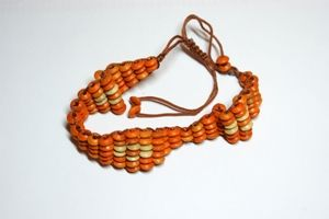 Orange & White Adjustable Wooden Bracelet