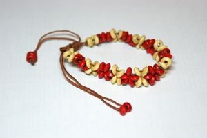 Red & White Thin Adjustable Wooden Bracelet