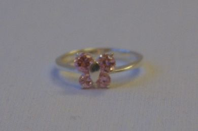 Sterling Silver Butterfly Design Cubic Zirconium Ring Pink