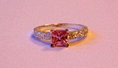 Sterling Silver Ring With A Pink & Clear Cubic Zirconium Stones