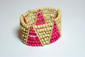 Triangular White & Pink Elasticated Wooden Bracelet