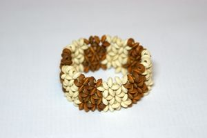 White & Brown Elasticated Wooden Bracelet