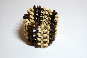 White & Dark Brown Elasticated Wooden Bracelet