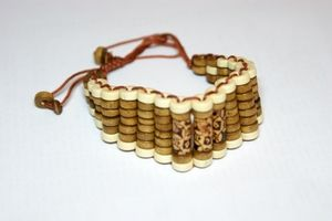 White & Light Brown Barreled Adjustable Wooden Bracelet
