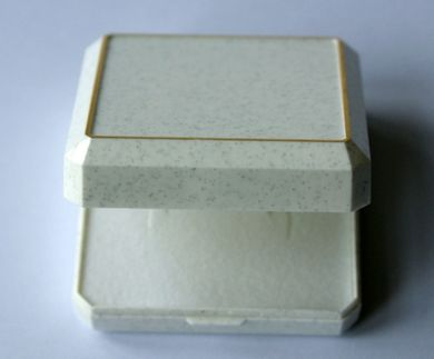 White Glittery Plastic Box With A Gold Trim