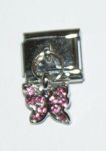 Italian Charm Dangle Butterfly Pink Stones