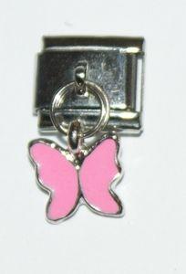 Italian Charm Dangle Butterfly Pink