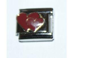 Italian Charm Enamel 2 Hearts Red