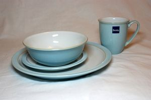 Denby Blue Linen 16 Piece Dinner Set