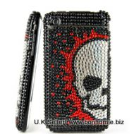 iPhone Skull Diamante Gem Black & Red