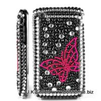 iPhone Butterfly Diamante Gem Black & Pink