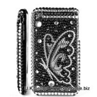 iPhone Butterfly Diamante Gem Black & Silver