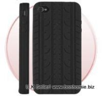 iPhone 4G Tyre Tread Design Silicone Case / Cover Back (Black)