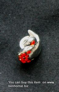 Metal Bead Silver Red Swan